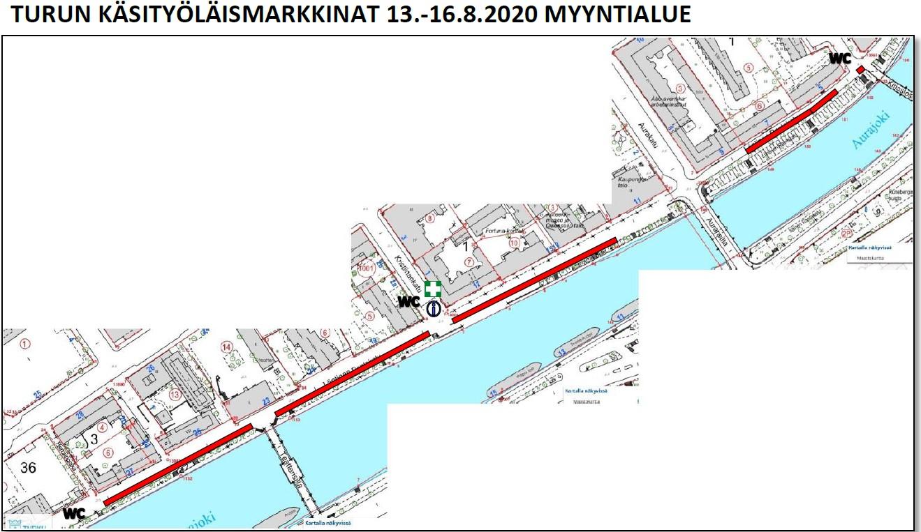 Kartta tapahtumaan Turun käsityöläismarkkinat 13.-16.8.2020