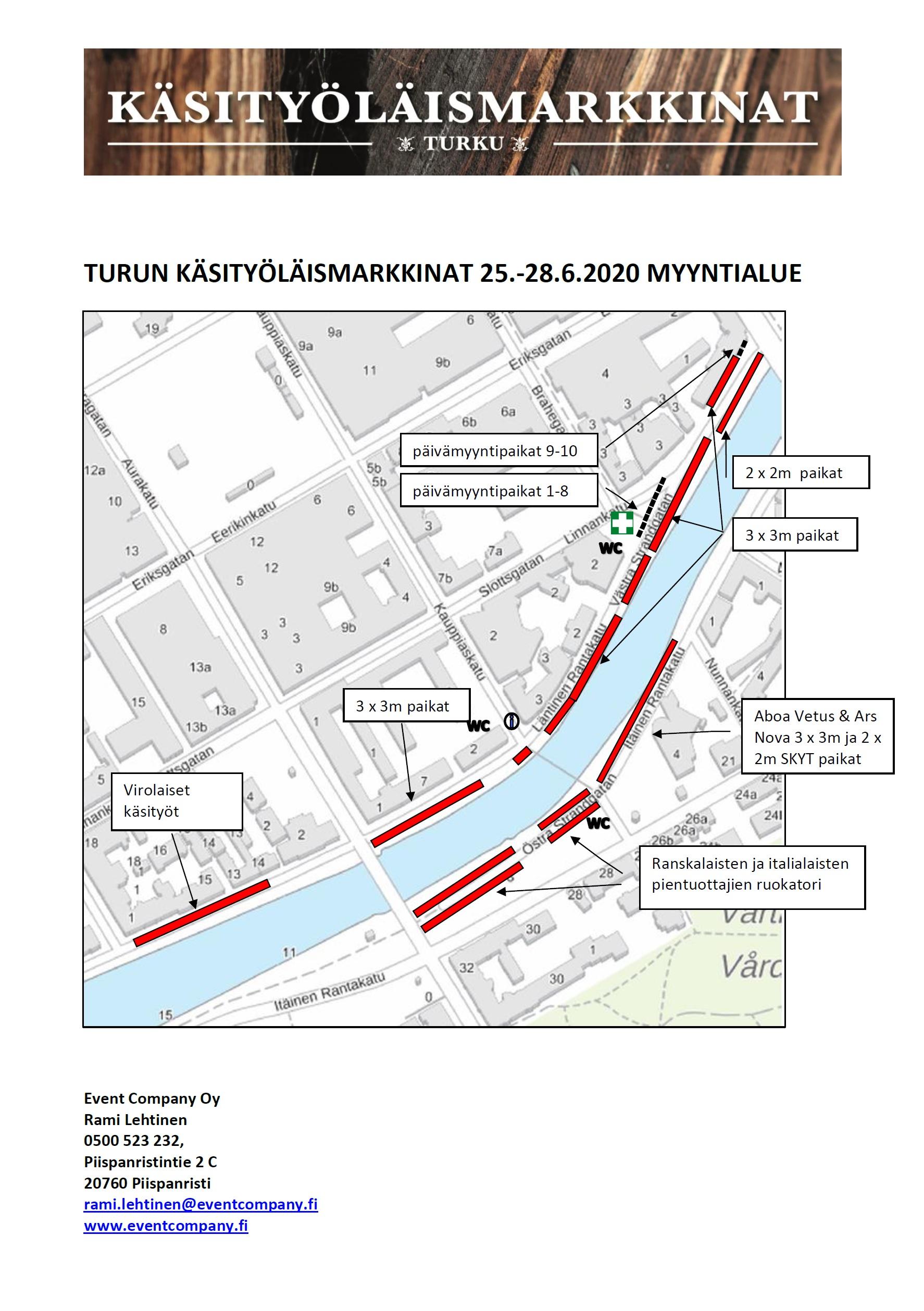Kartta tapahtumaan Turun käsityöläismarkkinat 25.-28.6.2020