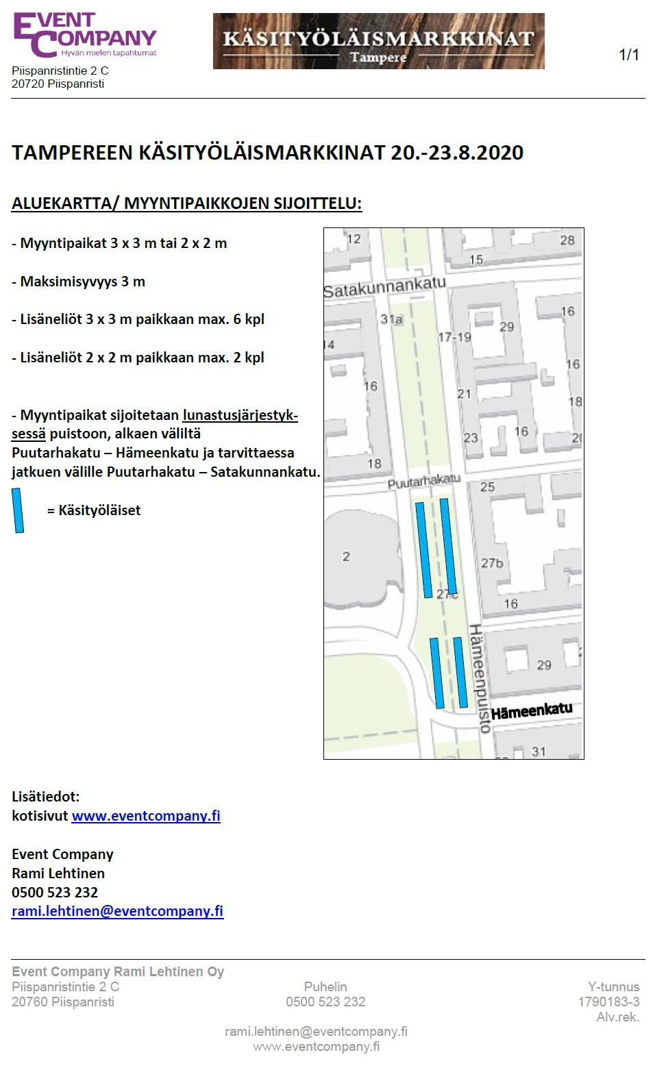 Kartta tapahtumaan Tampereen Käsityöläismarkkinat 20.-23.8.2020