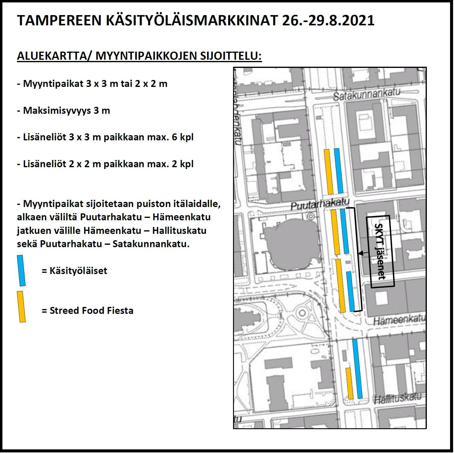 Kartta tapahtumaan Tampereen Käsityöläismarkkinat 26.-29.8.2021